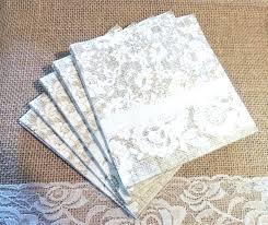 Burlap Personalized Wedding Napkins And Lace Paper Beverage Farmhouse Set