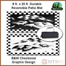 Reversible Patio Mats 8 X 20 by Mmi Reversible Patio Mat 8x20 Ft B U0026w Checkered W Graphic