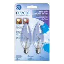 ge reveal 2 pack 60 watt candelabra base e 12 base color