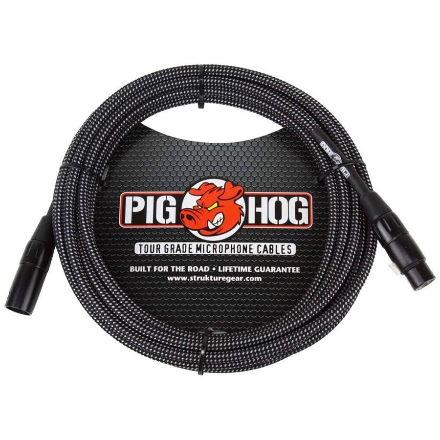 Pig Hog Woven Mic Cable - Black & White, 20'