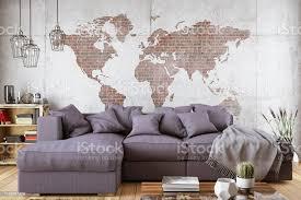 gemütliches wohnzimmer mit sofa und weltkarte stockfoto und mehr bilder architektur