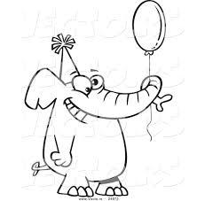 Vector Of A Cartoon Happy Birthday Elephant Holding Balloon
