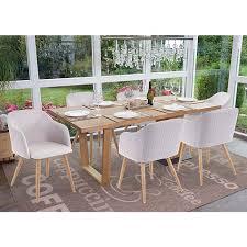 6x esszimmerstuhl mcw d71 stuhl küchenstuhl retro design armlehnen stoff textil hellgrau grau