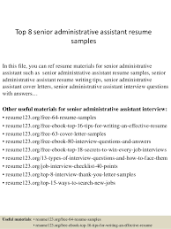Top 8 Senior Administrative Assistant Resume Samples In This File You Can Ref Materials