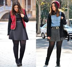 Fall Winter Plus Size Fashion With Knit Sweater Skater Skirt