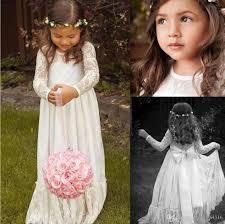 sheer lace neck flower dresses long sleeve floor length