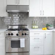 white cabinets with gray subway tiles design ideas