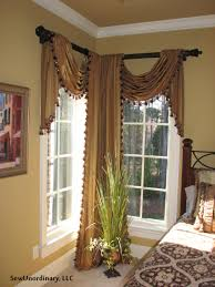 Traverse Rod Curtain Panels by Swags And Panels In Corner Window Window Treatments Pinterest