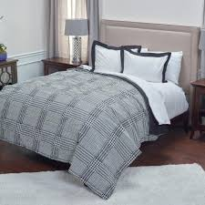 King Bed Comforters by Rizzy Home Black Houndstooth Pattern 3 Piece King Bed Set