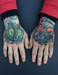 2 Hand Cyber Owl Mechanical Mask Color Tattoo