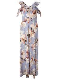 lilac floral print cold shoulder maxi dress dresses sale