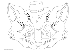 Cat Mask Coloring Page With