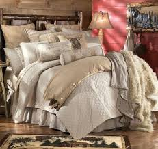 Decoration Gorgeous Cabin Decor Rustic Bedding Using Faux Sheepskin Blanket On Solid Wood Bed Frame Alongside