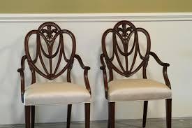 Maitland Smith Kidney Desk by Mahogany Sweet Heart Shield Back Dining Chairs