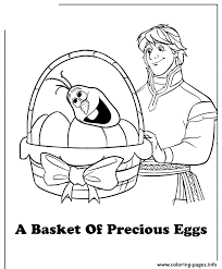 Kristoff Easter Basket With Eggs And Olafs Head Colouring Page