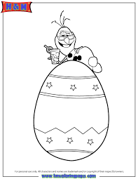 Frozen Snowman Olaf On Top Of Easter Egg Coloring Page