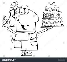 Clipart Illustration of an Outlined Cake Baker Woman