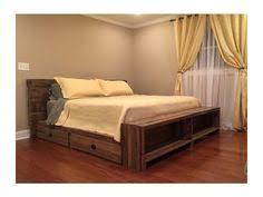 free headboard floating rustic wood platform bedframe with