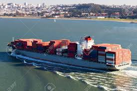100 Shipping Containers San Francisco Container Ship In The Bay Stock Photo Picture And