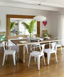 Dining Room Set Up Rustic Table White Chairs Wall Mirror Plant