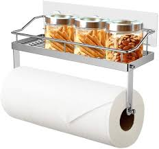 küchenrollenhalter mit regal küchenrollenspender wand küchenpapierhalter papierrollenhalter küchen badezimmer aufbewahrung ohne bohren edelstahl