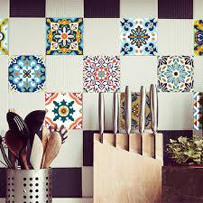 stickers carrelage salle de bain funlife style méditerranéen fleurs perle stickers carrelage