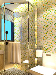 iridescent glazed 3d green glass mosaic backsplash pool