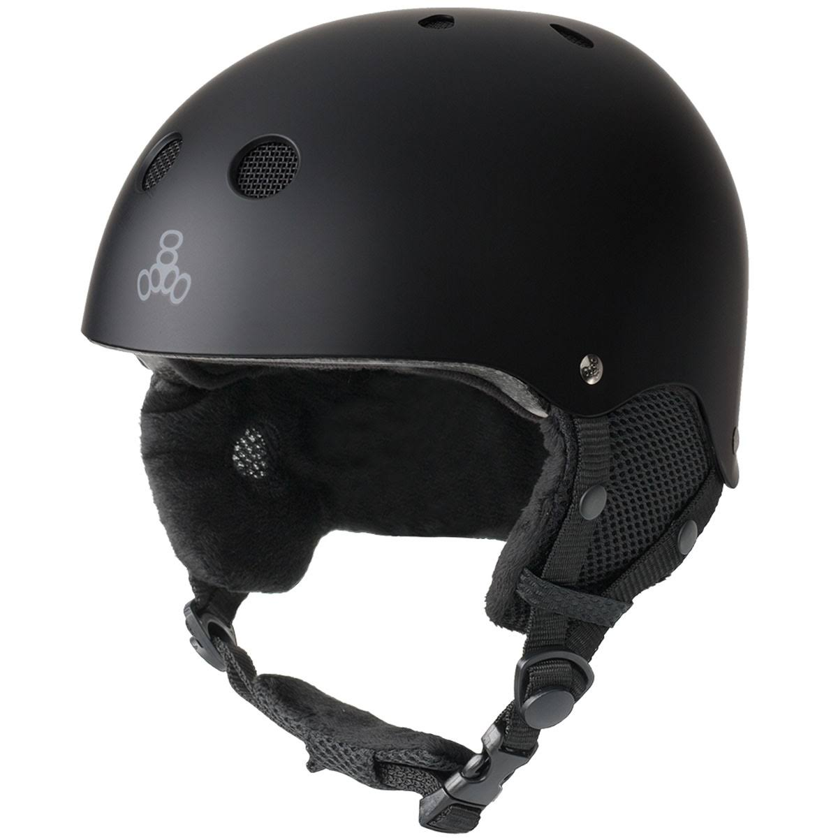 Triple8 Adult Standard Snow Helmet with Halo Liner - v.3 - Black Rubber - 176, Size: Small-Medium