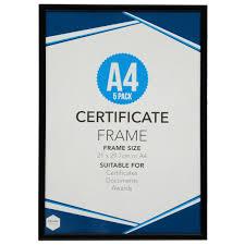 Design House A4 Certificate Photo Frame 21cm 297cm Black Big W