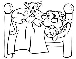 Animal Cat In Bed Coloring Pages