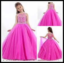 Design Fuchsia Pageant GirlS Dresses High Neck Crystal 2015 Ball Gown Tulle Floor Length Wedding Party Gowns Formal Kids Flower Girl Dress Girls