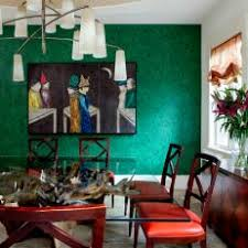 Bold Eclectic Dining Room With Green Wallpaper Accent Wall