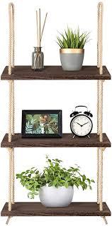 mkouo wandregal holz schweberegal boho deko lagerregale regalbrett seil organisator holzregal home decor für wohnzimmer badezimmer schlafzimmer küche