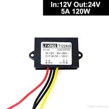 Car Auto DC 12v Step Up To 24v Converter Regulator 5A 120W Power Supply  Adapter. (Accept DC9-20V Inputs)