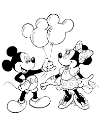 Mickey Giving Minnie Mouse Balloons Disney Coloring Pages Printable And Book To Print For Free Find More Online Kids Adults