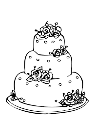 wedding cake coloring page for drawing 1