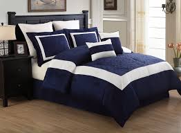 Amazon 12 Piece Queen Luke Navy And White Embroidered Bed In A Bag
