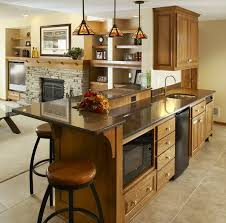 KitchenAttractive Contemporary Basement Kitchen Ideas With Wooden Cabinet And Marble Top Island