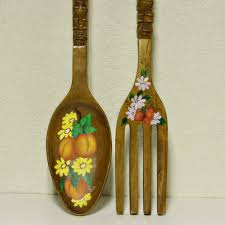 large wooden fork and spoon wall hanging large spoon and fork wall decor style of spoon and fork wall