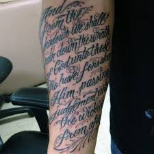 Decorative Inner Forearm Scripture Tattoos For Men