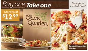 HOT Olive Garden Buy e for $12 99 Take e for FREE Dapper