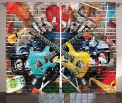 gardine schlafzimmer kräuselband vorhang mit schlaufen und haken abakuhaus graffiti collage instrument joyful kaufen otto