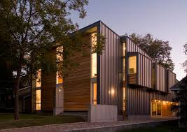 Engineered Wood Siding Exterior Modern With Concrete Wall Entrance Entry Flat Roof Front Door Geometric