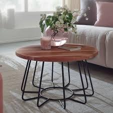 wohnling couchtisch 60x35x60 cm akazie massivholz metall sofatisch wohnzimmertisch rund salontisch massiv kleiner designer tisch wohnzimmer