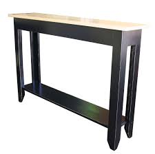 Upscale Primitive Sofa Table Made From A Pine Base With Black Rub Thru Finish And