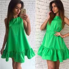 Trendy Women Clothes Sexy Summer Beach Dress 2017 New Design Solid Color Sleeveless Pleated