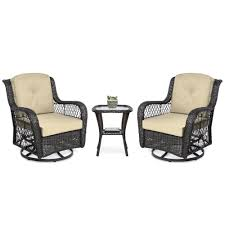 3-Piece Patio Wicker Bistro Furniture Set W/ 2 Swivel Rocking Chairs, Table Americana Wicker Bistro Table And Chairs Set Plowhearth Royalcraft Cannes Brown Rattan 3pc 2 Seater Cube Breakfast Ceylon Outdoor 3piece By Christopher Knight Home Hampton Bay Aria 3piece Balcony Patio Sirio Valentine Swivel Ellie 3 Piece Folding Fniture W Round In Dark Outdoor Cast Alinium Rattan Ding Sets Georgina With Cushions Wilko Effect