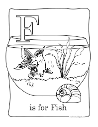 Extraordinary Fish Bowl Coloring Page With Letter F And Pages For