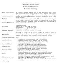 Resume For Warehouse Job Ideas Of Supervisor Sample In Summary