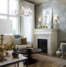 Refined Living Room With Damask Wallpaper